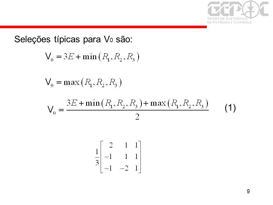 9 Seleções típicas para V 0 são: (1)