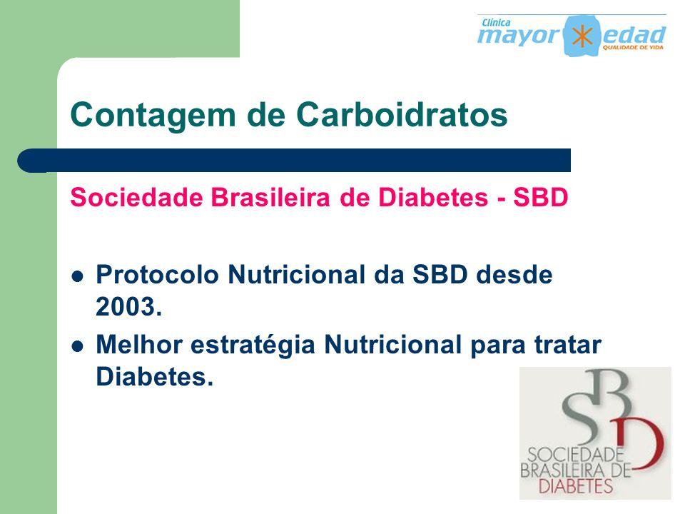 Contagem de Carboidratos Sociedade Brasileira de Diabetes - SBD Protocolo Nutricional da SBD desde 2003. Melhor estratégia Nutricional para tratar Dia