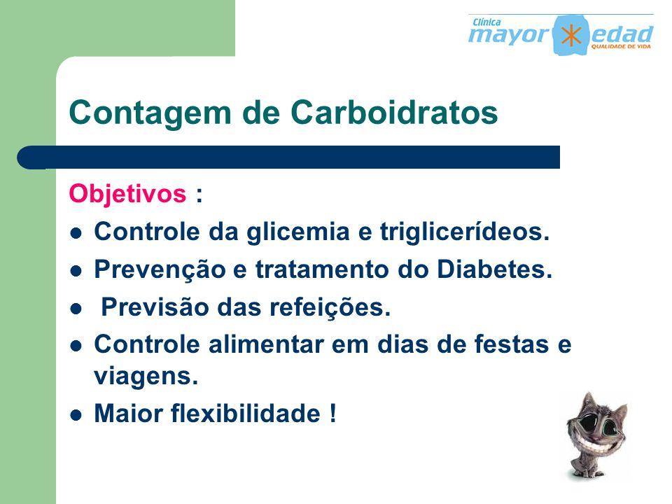 Contagem de Carboidratos Objetivos : Controle da glicemia e triglicerídeos. Prevenção e tratamento do Diabetes. Previsão das refeições. Controle alime