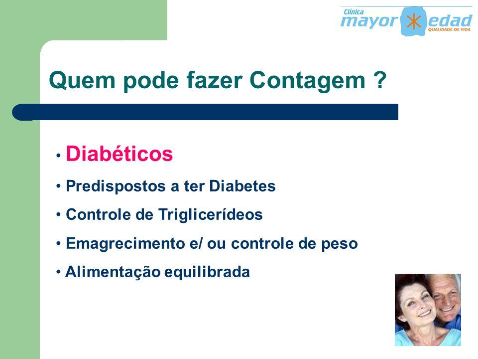 Quem pode fazer Contagem ? Diabéticos Predispostos a ter Diabetes Controle de Triglicerídeos Emagrecimento e/ ou controle de peso Alimentação equilibr