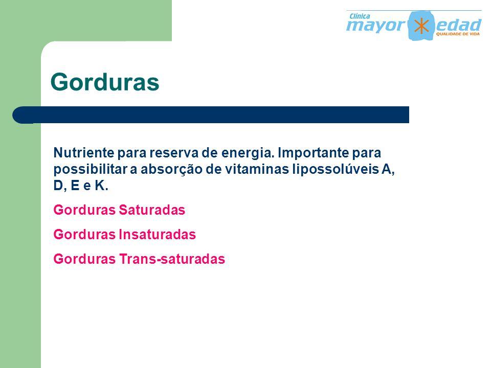 Gorduras Nutriente para reserva de energia. Importante para possibilitar a absorção de vitaminas lipossolúveis A, D, E e K. Gorduras Saturadas Gordura