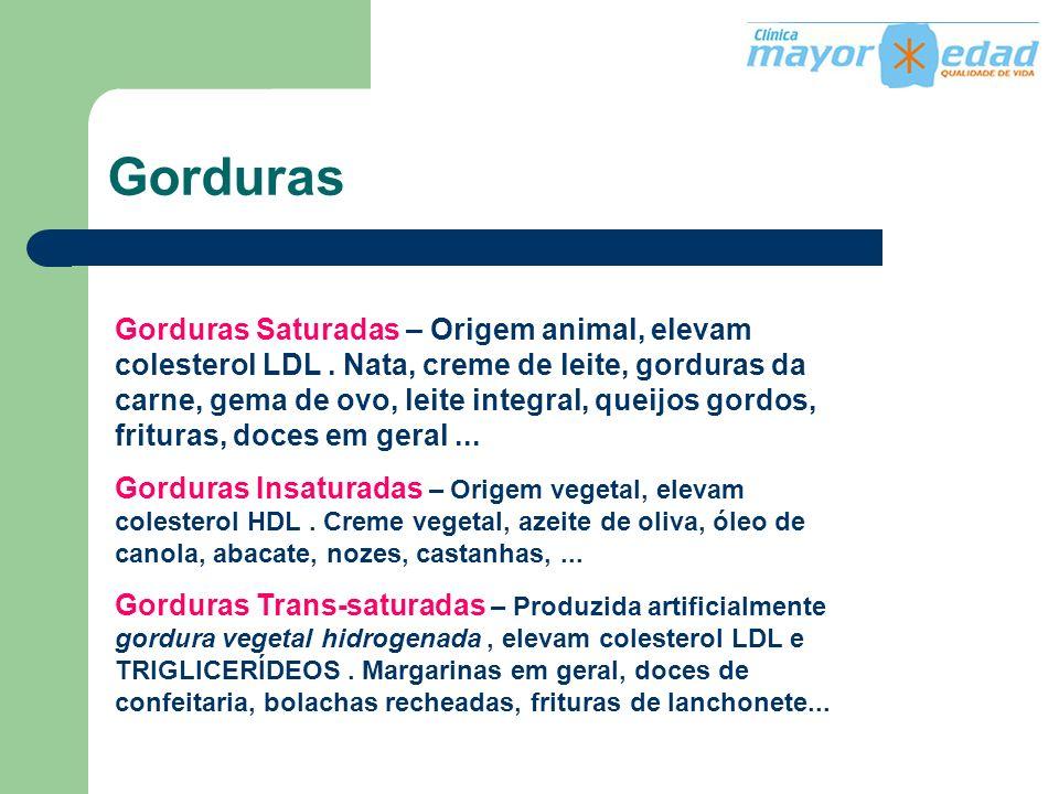 Gorduras Gorduras Saturadas – Origem animal, elevam colesterol LDL. Nata, creme de leite, gorduras da carne, gema de ovo, leite integral, queijos gord