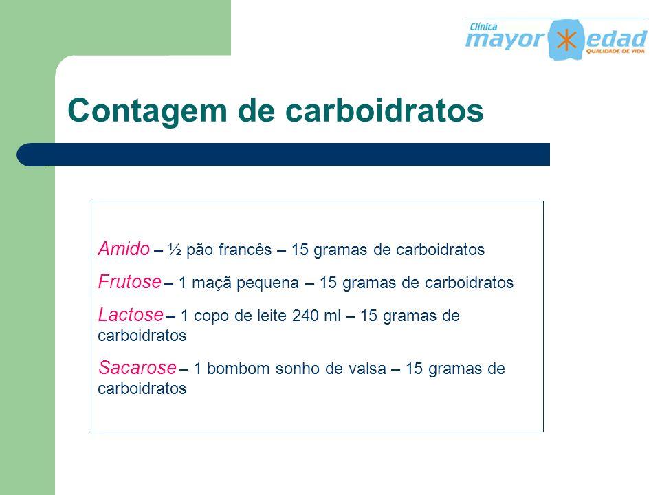 Contagem de carboidratos Amido – ½ pão francês – 15 gramas de carboidratos Frutose – 1 maçã pequena – 15 gramas de carboidratos Lactose – 1 copo de le