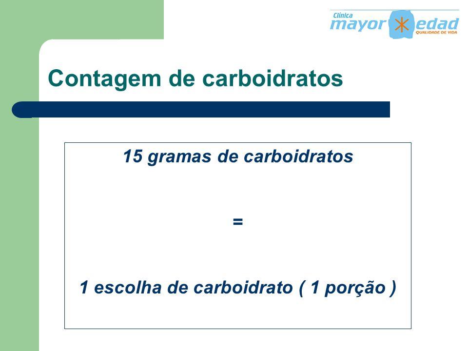 Contagem de carboidratos 15 gramas de carboidratos = 1 escolha de carboidrato ( 1 porção )