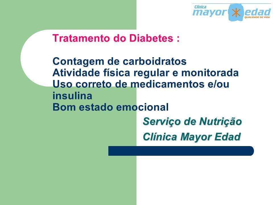 Tratamento do Diabetes : Contagem de carboidratos Atividade física regular e monitorada Uso correto de medicamentos e/ou insulina Bom estado emocional