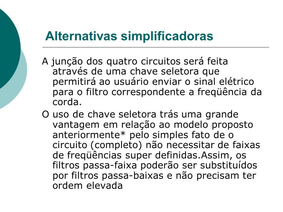 Alternativas simplificadoras A junção dos quatro circuitos será feita através de uma chave seletora que permitirá ao usuário enviar o sinal elétrico p