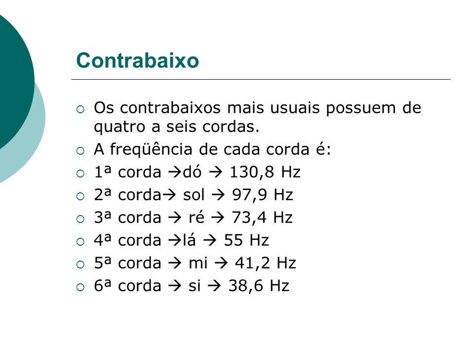 Contrabaixo Os contrabaixos mais usuais possuem de quatro a seis cordas. A freqüência de cada corda é: 1ª corda dó 130,8 Hz 2ª corda sol 97,9 Hz 3ª co