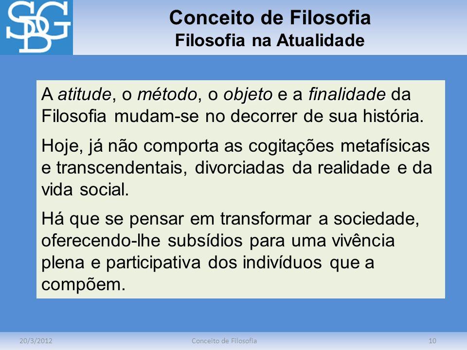 Conceito de Filosofia Filosofia na Atualidade 20/3/2012Conceito de Filosofia10 atitudemétodoobjetofinalidade A atitude, o método, o objeto e a finalid