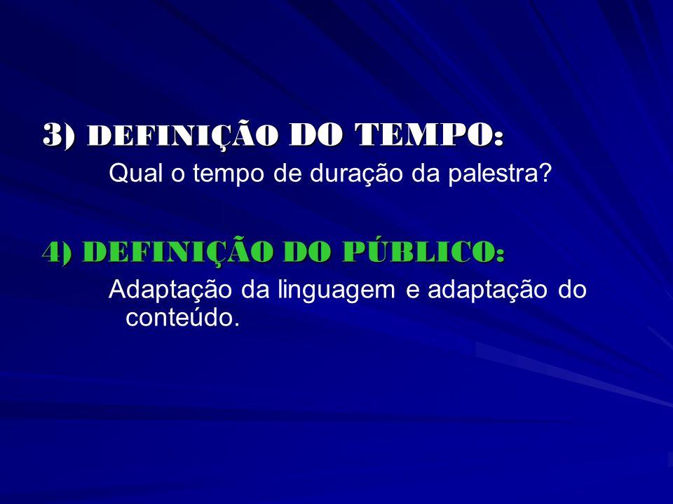 3) DEFINIÇÃO DO TEMPO: 3) DEFINIÇÃO DO TEMPO: Qual o tempo de duração da palestra? 4) DEFINIÇÃO DO PÚBLICO: Adaptação da linguagem e adaptação do cont