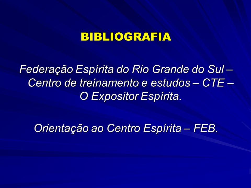 BIBLIOGRAFIA Federação Espírita do Rio Grande do Sul – Centro de treinamento e estudos – CTE – O Expositor Espírita. Orientação ao Centro Espírita – F