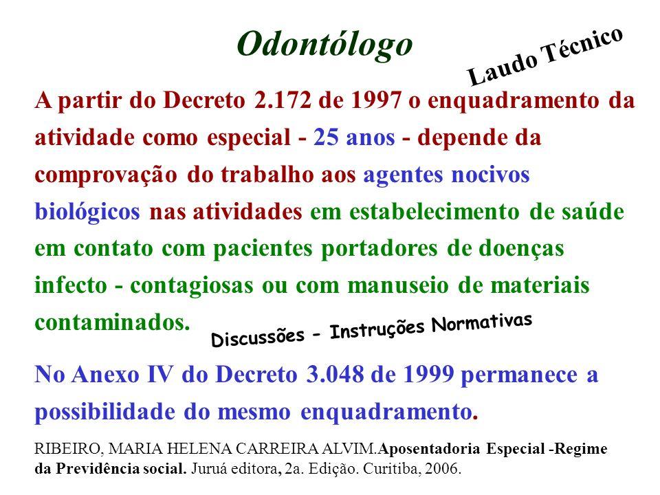 Odontólogo A partir do Decreto 2.172 de 1997 o enquadramento da atividade como especial - 25 anos - depende da comprovação do trabalho aos agentes noc