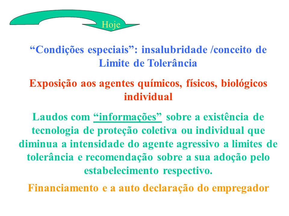 Condições especiais: insalubridade /conceito de Limite de Tolerância Exposição aos agentes químicos, físicos, biológicos individual Laudos com informa