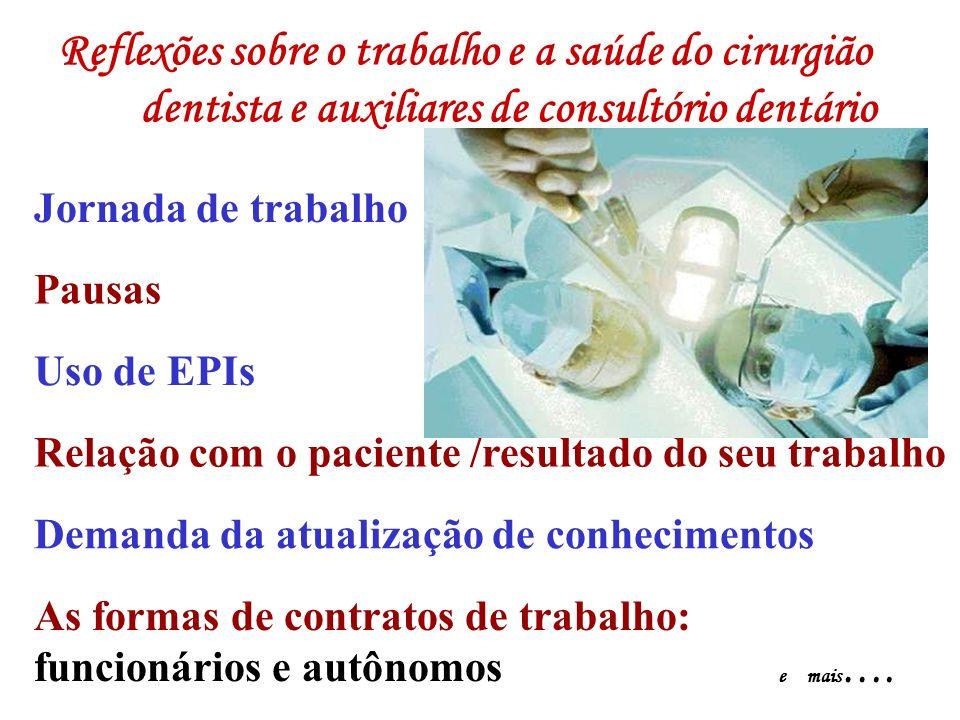 Reflexões sobre o trabalho e a saúde do cirurgião dentista e auxiliares de consultório dentário Jornada de trabalho Pausas Relação com o paciente /res