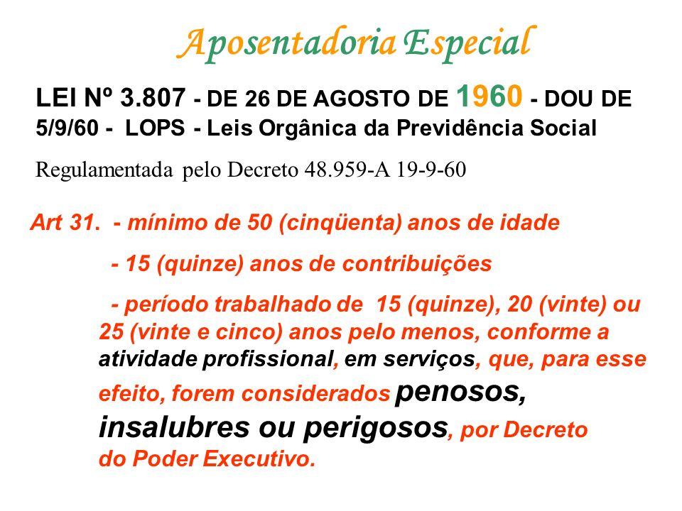 Aposentadoria EspecialAposentadoria Especial LEI Nº 3.807 - DE 26 DE AGOSTO DE 1960 - DOU DE 5/9/60 - LOPS - Leis Orgânica da Previdência Social Regul