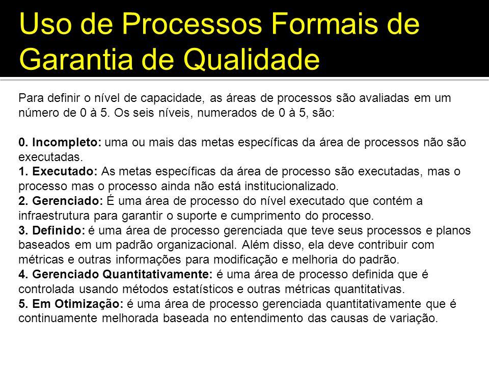 Uso de Processos Formais de Garantia de Qualidade Para definir o nível de capacidade, as áreas de processos são avaliadas em um número de 0 à 5. Os se