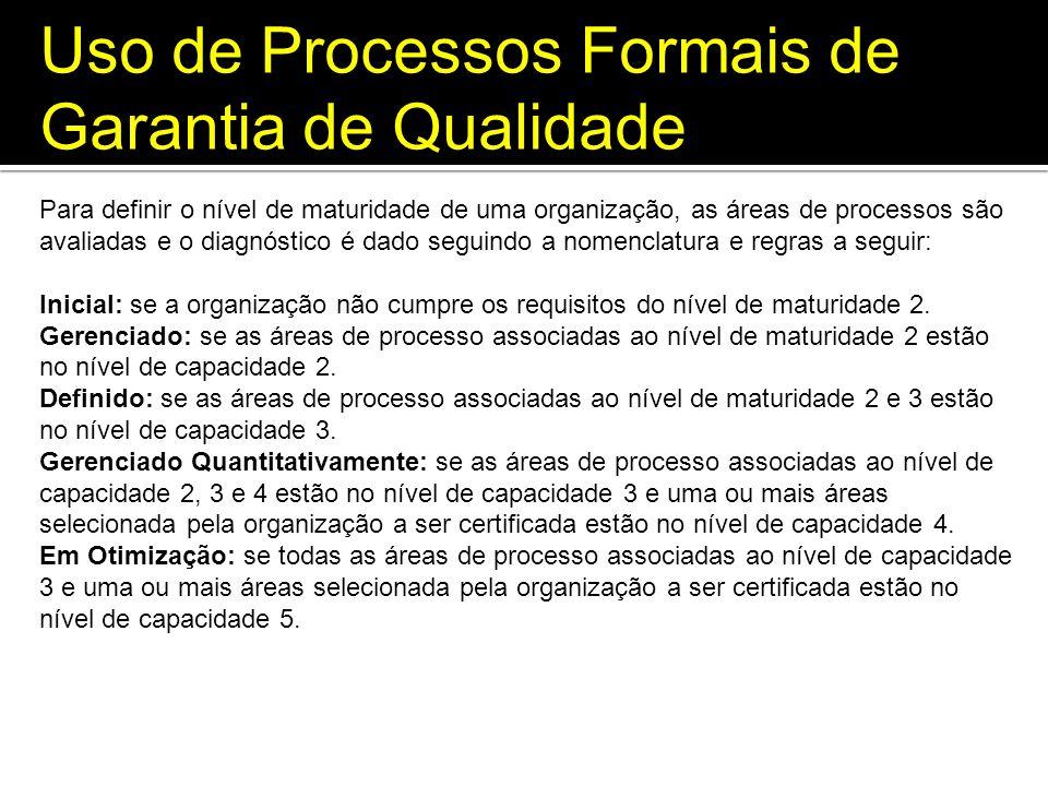 Uso de Processos Formais de Garantia de Qualidade Para definir o nível de maturidade de uma organização, as áreas de processos são avaliadas e o diagn