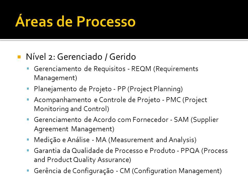 Nível 2: Gerenciado / Gerido Gerenciamento de Requisitos - REQM (Requirements Management) Planejamento de Projeto - PP (Project Planning) Acompanhamen