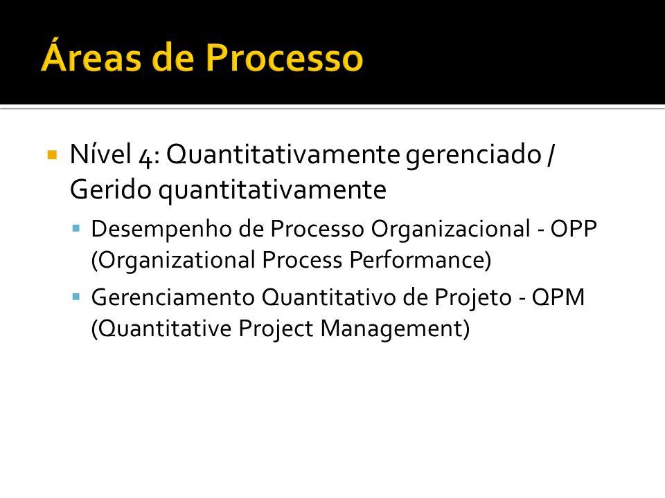 Nível 4: Quantitativamente gerenciado / Gerido quantitativamente Desempenho de Processo Organizacional - OPP (Organizational Process Performance) Gere