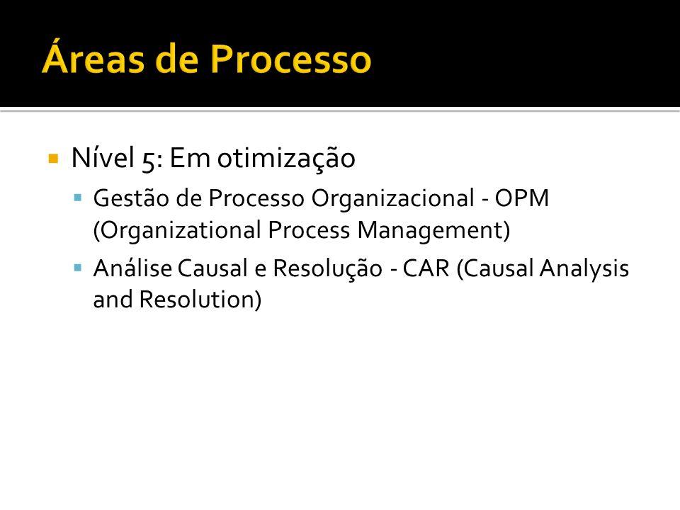 Nível 5: Em otimização Gestão de Processo Organizacional - OPM (Organizational Process Management) Análise Causal e Resolução - CAR (Causal Analysis a