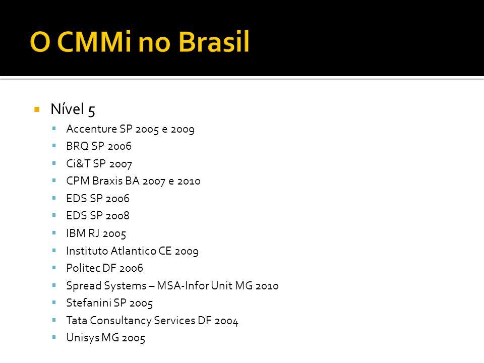 Nível 5 Accenture SP 2005 e 2009 BRQ SP 2006 Ci&T SP 2007 CPM Braxis BA 2007 e 2010 EDS SP 2006 EDS SP 2008 IBM RJ 2005 Instituto Atlantico CE 2009 Po