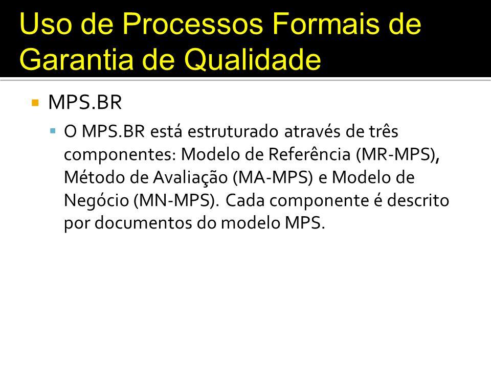 Uso de Processos Formais de Garantia de Qualidade MPS.BR O MPS.BR está estruturado através de três componentes: Modelo de Referência (MR-MPS), Método