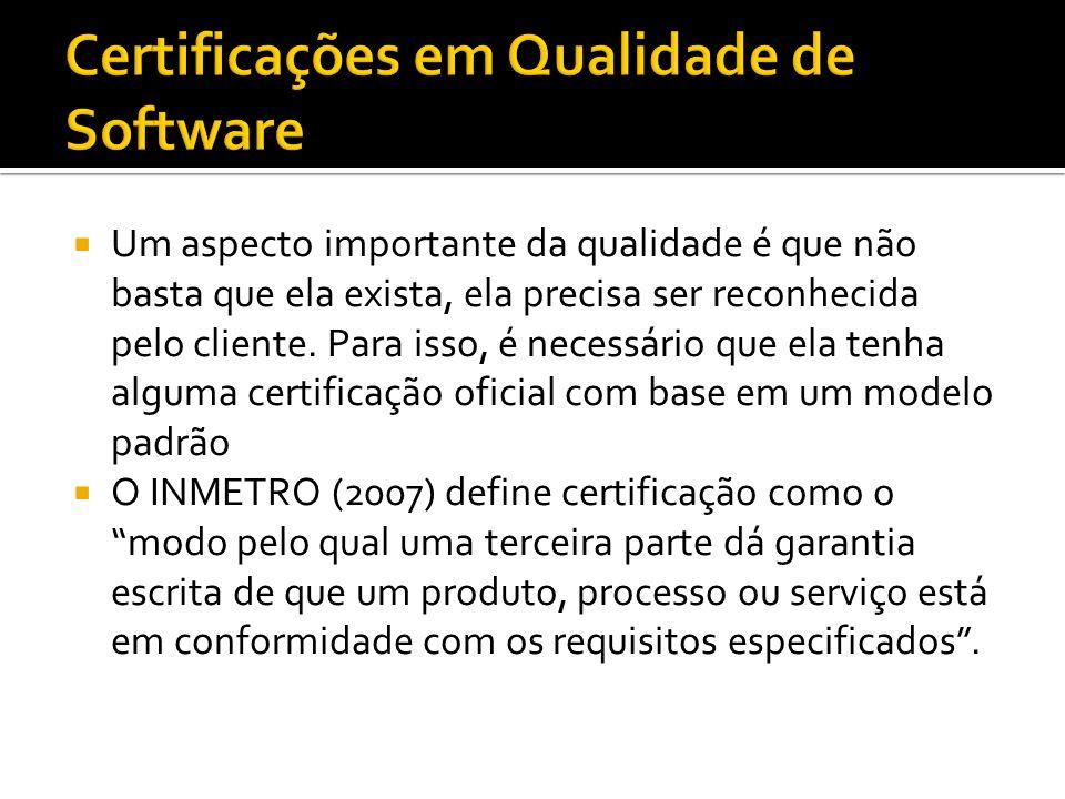 Uso de Processos Formais de Garantia de Qualidade Padrões de qualidade em processo de software: CMMI MPS.BR