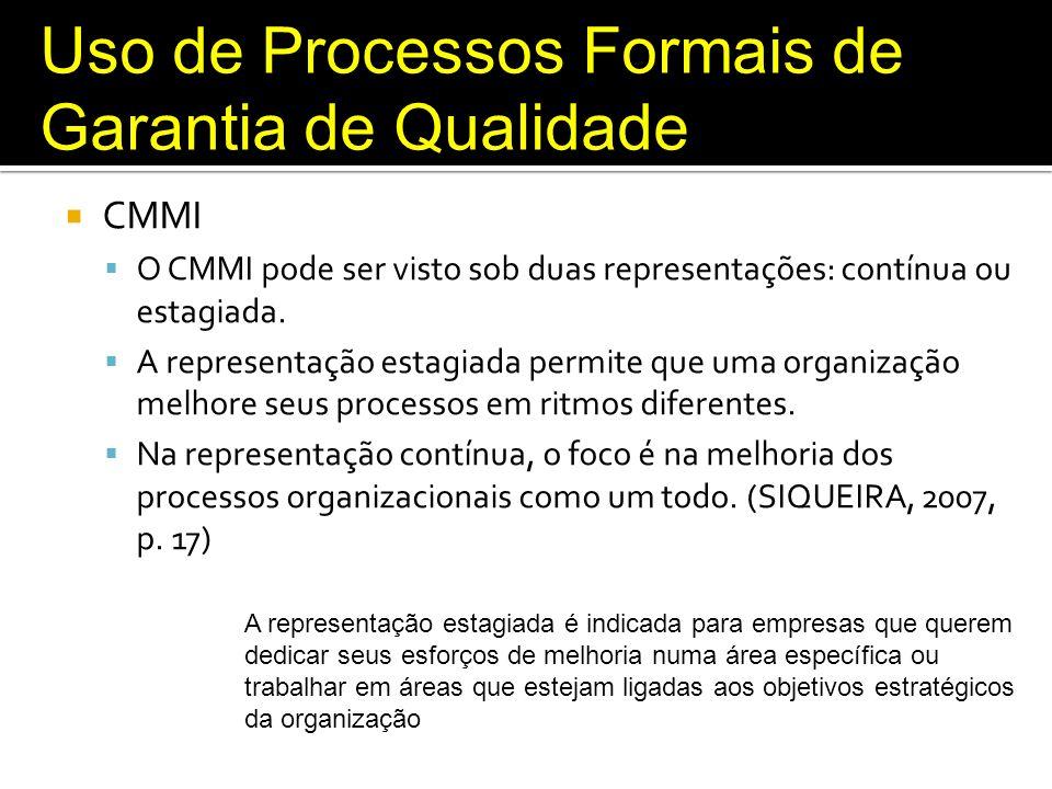Uso de Processos Formais de Garantia de Qualidade MPS.BR O Guia de Implementação sugere formas de implementar cada um dos níveis de maturidade, sugere formas de como uma organização que faz aquisição de produtos pode implementar o MR- MPS.