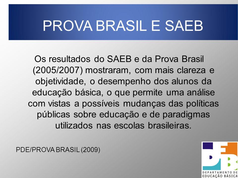 Os resultados do SAEB e da Prova Brasil (2005/2007) mostraram, com mais clareza e objetividade, o desempenho dos alunos da educação básica, o que permite uma análise com vistas a possíveis mudanças das políticas públicas sobre educação e de paradigmas utilizados nas escolas brasileiras.