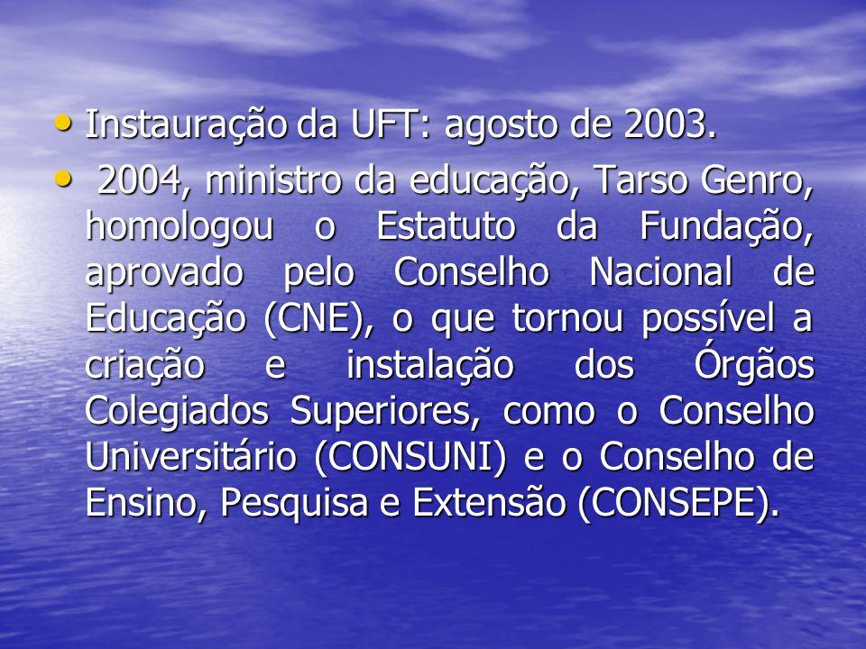 Missão da UFT é Produzir e difundir conhecimentos visando à formação de cidadãos e profissionais qualificados, comprometidos com o desenvolvimento sustentável da Amazônia Missão da UFT é Produzir e difundir conhecimentos visando à formação de cidadãos e profissionais qualificados, comprometidos com o desenvolvimento sustentável da Amazônia