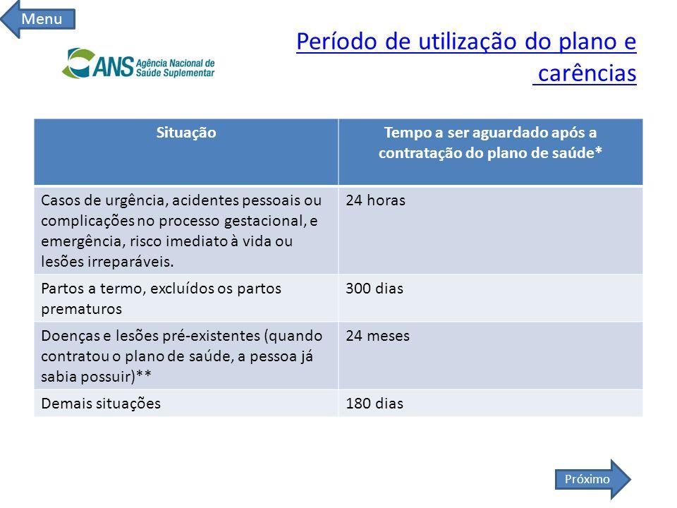 Período de utilização do plano e carências SituaçãoTempo a ser aguardado após a contratação do plano de saúde* Casos de urgência, acidentes pessoais o