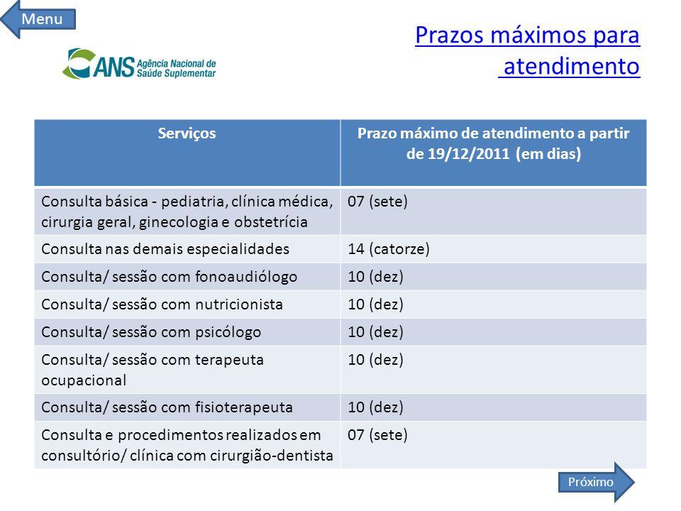Prazos máximos para atendimento ServiçosPrazo máximo de atendimento a partir de 19/12/2011 (em dias) Consulta básica - pediatria, clínica médica, ciru