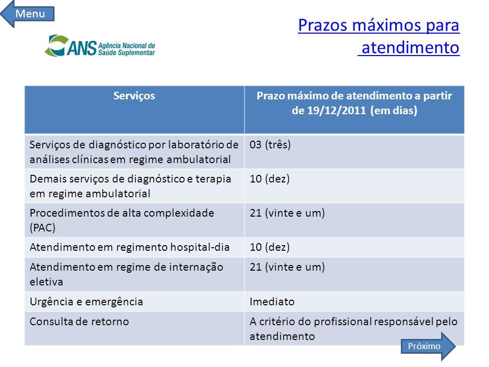 Prazos máximos para atendimento ServiçosPrazo máximo de atendimento a partir de 19/12/2011 (em dias) Serviços de diagnóstico por laboratório de anális