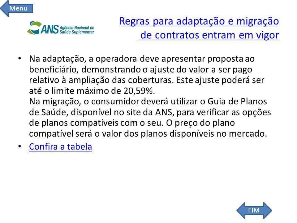 Regras para adaptação e migração de contratos entram em vigor Regras para adaptação e migração de contratos entram em vigor Na adaptação, a operadora