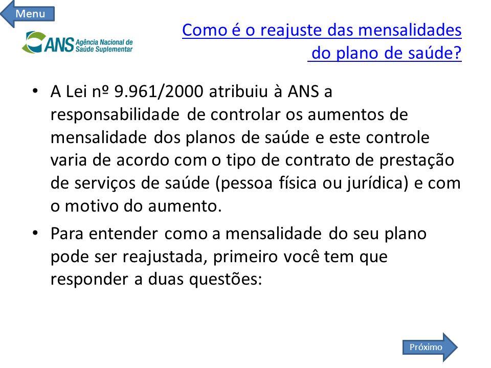 Como é o reajuste das mensalidades do plano de saúde? A Lei nº 9.961/2000 atribuiu à ANS a responsabilidade de controlar os aumentos de mensalidade do