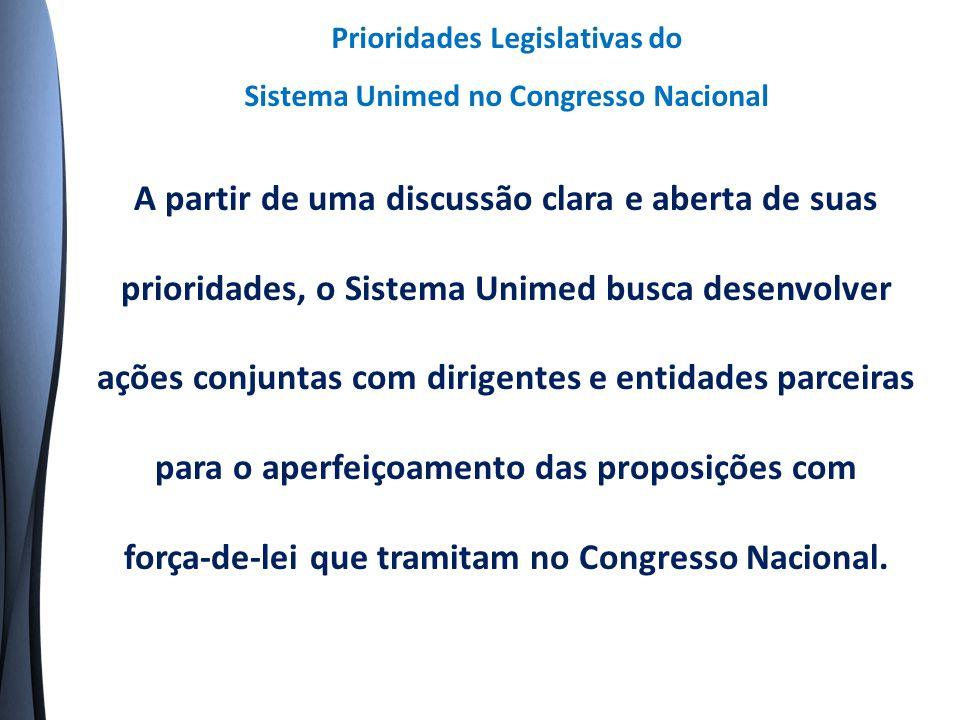 A partir de uma discussão clara e aberta de suas prioridades, o Sistema Unimed busca desenvolver ações conjuntas com dirigentes e entidades parceiras para o aperfeiçoamento das proposições com força-de-lei que tramitam no Congresso Nacional.