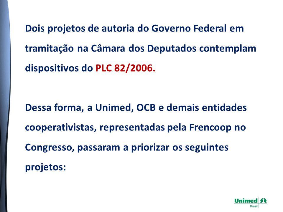 Dois projetos de autoria do Governo Federal em tramitação na Câmara dos Deputados contemplam dispositivos do PLC 82/2006.