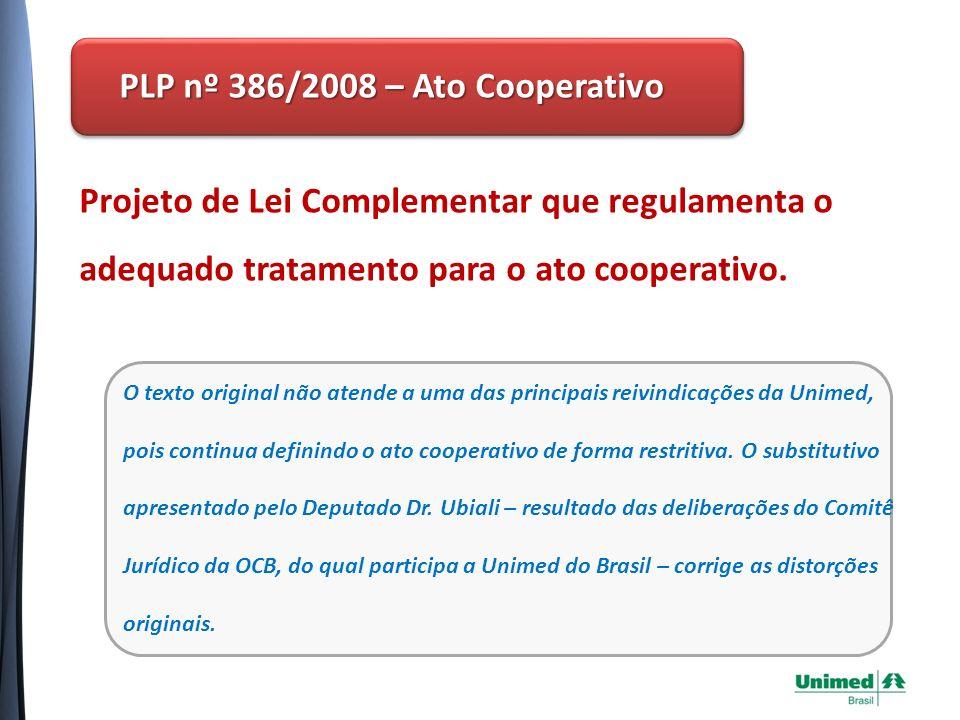 PL nº 3.723/2008 - Adequado Tratamento Tributário Projeto de Lei comum que dispõe sobre o tratamento tributário aplicável às sociedades cooperativas em geral no âmbito federal.