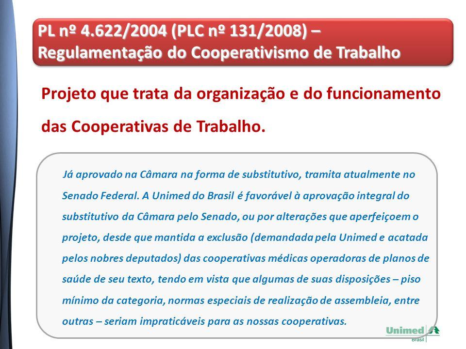 Projeto que trata da organização e do funcionamento das Cooperativas de Trabalho.