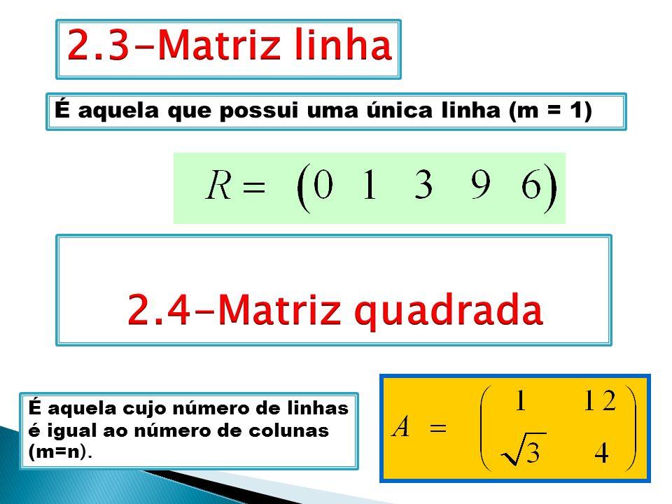 É aquela que possui uma única linha (m = 1) É aquela cujo número de linhas é igual ao número de colunas (m=n ).
