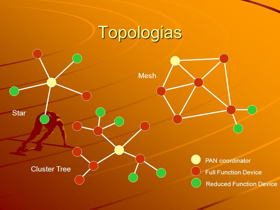 Topologias PAN coordinator Full Function Device Star Mesh Cluster Tree Reduced Function Device