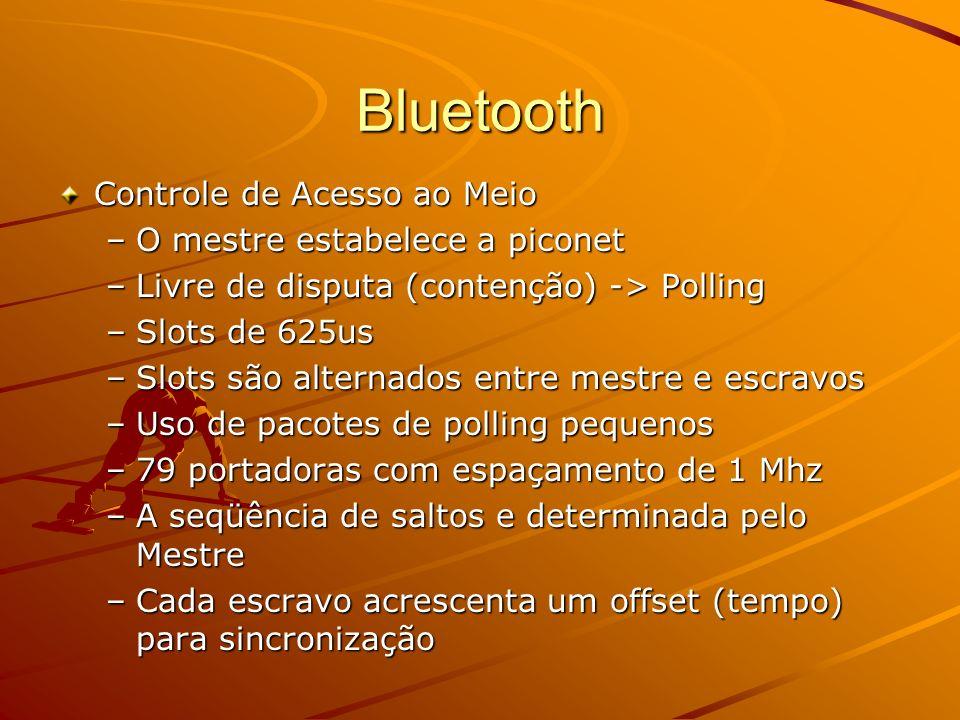 Bluetooth Transmissor envia o sinal sobre uma série pseudo- randômica de freqüências Há 79 freqüências em que um dispositivo pode estar transmitindo A seqüência particular de freqüências de um canal é estabelecida pelo dispositivo mestre da piconet, responsável pelo controle do canal Todos os outros dispositivos participantes da piconet são escravos e devem se sincronizar ao mestre O dispositivo mestre muda sua freqüência de transmissão 1600 vezes por segundo com o objetivo de minimizar potenciais interferências Somente comunicações ponto-a-ponto entre mestre/escravo ou comunicações ponto-a-multiponto entre mestre/escravos são possíveis Para evitar a colisão devido a múltiplas transmissões de dispositivos escravos, o dispositivo mestre utiliza a técnica de polling (somente o dispositivo indicado no slot mestre- para-escravo pode transmitir no slot escravo-para-mestre seguinte)