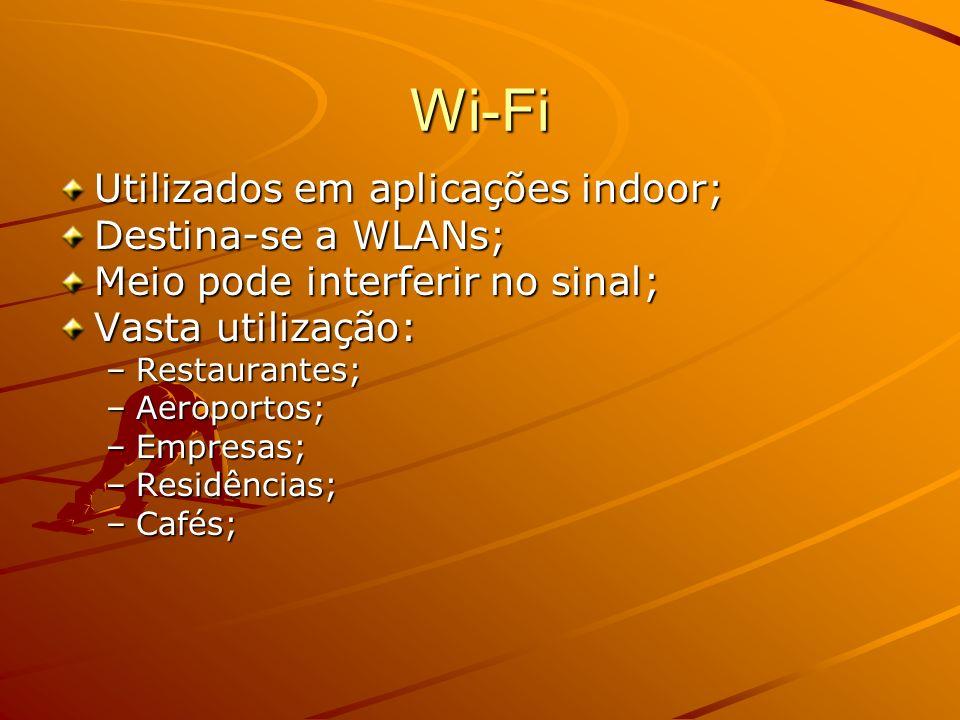 Wi-Fi 802.11a –Padrão IEEE para redes wireless a 5 GHz (5.725 GHz to 5.850 GHz) e 54 Mbps –Mais canais que o 802.11b (freqüências menos lotadas, evitando as interferências de ondas rádio e microondas) –12 m a 54 Mbps 90 m a 6 Mbps 802.11b –Padrão IEEE para redes wireless a 2.4 GHz (2.4 GHz to 2.4835 GHz) e 11 Mbps –30m a 11 Mbp e 90m a 1 Mbps 802.11g –Oferece velocidades até 54 Mbps para curtas distâncias – Funciona a 2.4GHz (compatibilidade com o popular 802.11b) –15 m a 54 Mbps e 45 m a 11 Mbps