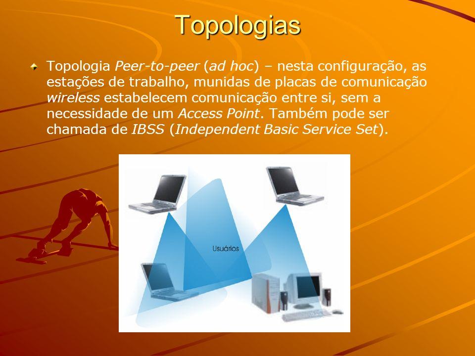 Topologia Infra-estrutura – Esta configuração consiste em um Access Point que estabelece comunicação com um conjunto de estações de trabalho.