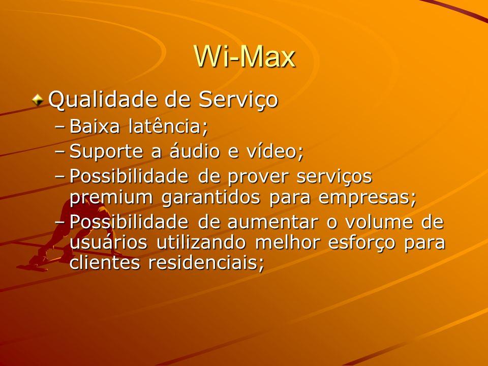 Wi-Max Vazão –Esquema robusto de modulação; –Modulação adaptativa; –Alta vazão; Escalabilidade –Suporta flexíveis larguras de banda; –Suporta espectros licenciados e não- licenciados; –Pode-se incrementar o número de usuários através da divisão de um setor de 20 Mhz em dois setores de 10 Mhz ou 4 setores de 5 MHz