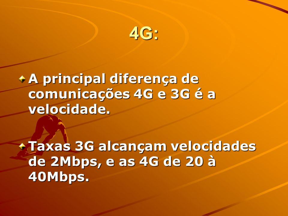 4G Será o desenvolvimento de tecnologias 3G - MIMO-WCDMA e MIMO-OFDM A Europa está bastante ativa, para tentar acompanhar o ritmo de desenvolvimento das Tecnologias de Informação.
