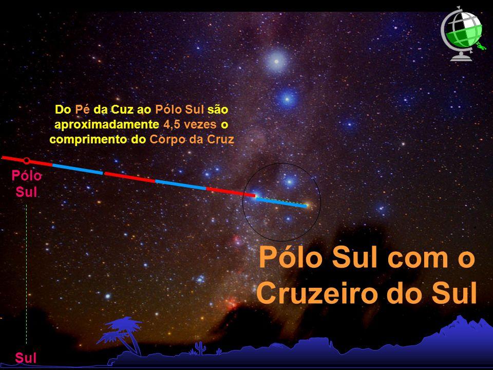 Pólo Sul Sul Do Pé da Cuz ao Pólo Sul são aproximadamente 4,5 vezes o comprimento do Corpo da Cruz Pólo Sul com o Cruzeiro do Sul
