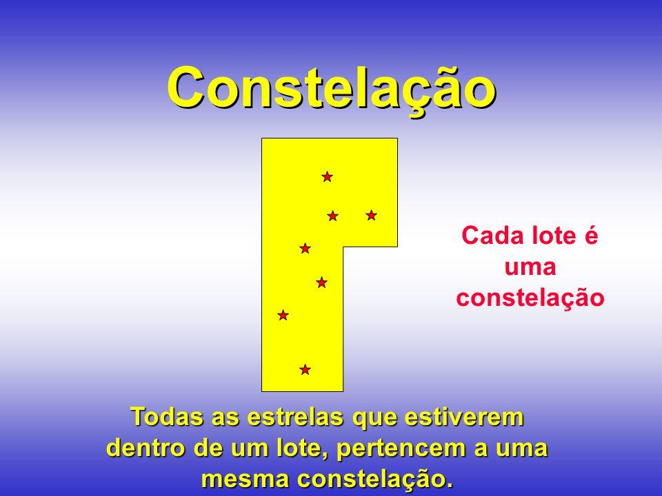 Constelação Todas as estrelas que estiverem dentro de um lote, pertencem a uma mesma constelação.