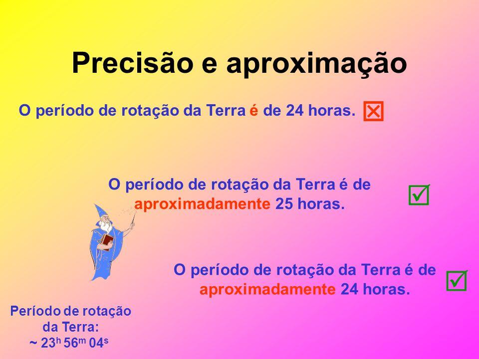 Precisão e aproximação O período de rotação da Terra é de 24 horas.