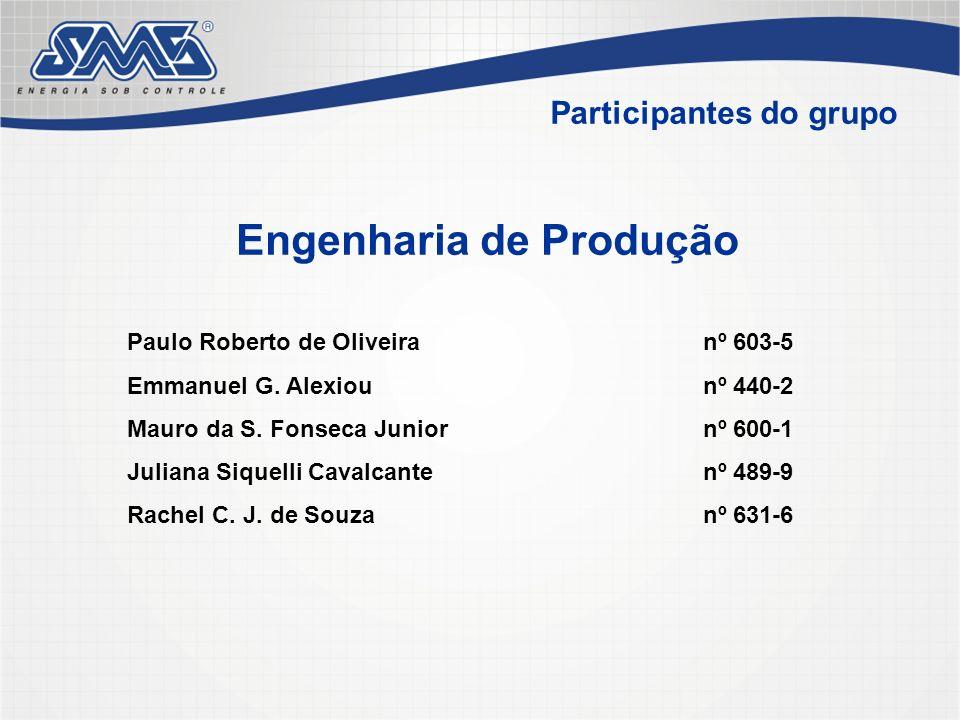 Participantes do grupo Paulo Roberto de Oliveiranº 603-5 Emmanuel G. Alexiounº 440-2 Mauro da S. Fonseca Juniornº 600-1 Juliana Siquelli Cavalcantenº