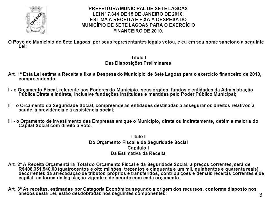 3 PREFEITURA MUNICIPAL DE SETE LAGOAS LEI Nº 7.844 DE 15 DE JANEIRO DE 2010. ESTIMA A RECEITA E FIXA A DESPESA DO MUNICÍPIO DE SETE LAGOAS PARA O EXER